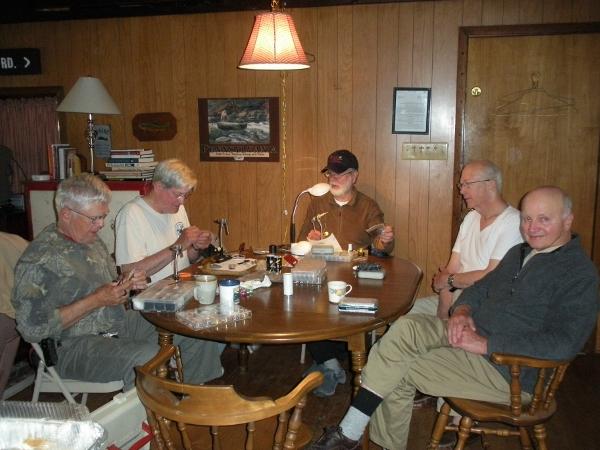 CVTU Members Tying Flies at the Dining Room Table